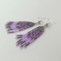 Pearl and Fringe Earrings, Native American Inspired Lilac and grey Beadwork Chic