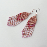 Copper And Pink Fringe Earrings, Native American Inspired Beadwork Chic