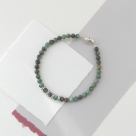 African Turquoise Gemstone Bead Tibetan Silver Magnetic Clasp Delicate Bracelet
