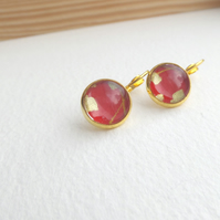 Arty Red Earrings yellow Gold Dangle Drop lever back earrings
