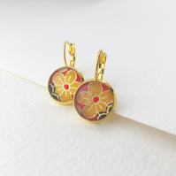Daffodil Earrings, Yellow Gold Dangle Drop lever back earrings