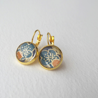 Teal Floral Earrings, Yellow Gold Dangle Drop lever back earrings