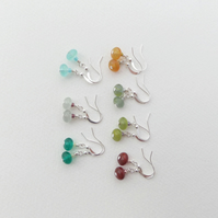 Choice of colours, Small Smooth Everyday, Glass Beaded, Silver Dangle Earrings