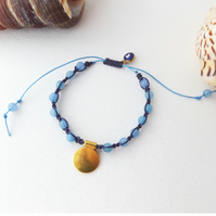 Blue gem Beaded Shamballa Adjustable Bracelet