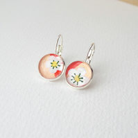 Silver Floral Earrings, Floral Dangle Drop leverback earrings