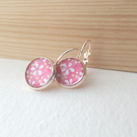 Pink Floral Earrings Rose Gold Dangle Drop lever back earrings