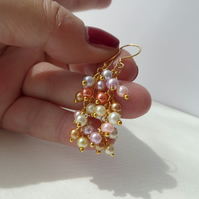 Pastel Pearl Gold Earrings, Pale Multicolored Yellow Gold Vermeil