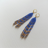 Blue Fringe Earrings, Native American Inspired Bright Blue & Gold Long earrings
