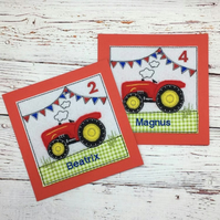 Tractor Birthday Card - Personalised Tractor Card - Kids Tractor Card