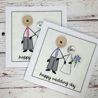 Mr & Mrs Wedding Card - Happy Wedding Day - Linen Embroidered Card