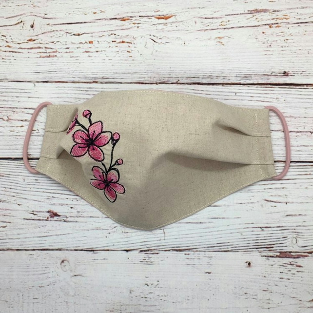 Cherry Blossom Facemask - Natural Linen Face-covering -  Linen Embroidered Mask