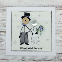 Mr & Mrs Wedding Card - Happy Wedding Day - Embroidered Card