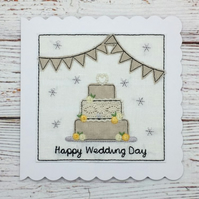 Happy Wedding Day Card - Textile Card - Embroidered Card