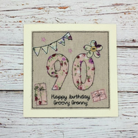 90th - Age 90 Birthday Card - 90th card - Ages 85 to 94 Personalised Card