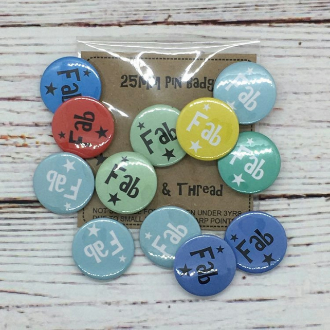 Fab Badges - 25mm Pin Badges - Badge selection -  Pack of 15 One Inch Badges
