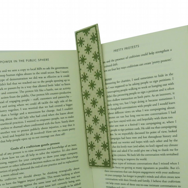 Linen Bookmark, Literary Gift, Textile Bookmark, Cross Stitch Bookmark