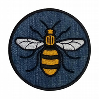 Manchester  Bee Sew on patch - Denim Bee Patch - Embroidered Bee Denim Patch
