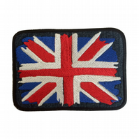 Union Jack Sew on patch - UK Patch - Embroidered United Kingdom Denim Patch