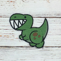 Dinosaur Sew on patch - Green T Rex Clothing Patch - Embroidered Dinosaur Patch