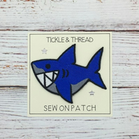 Shark Sew on patch - Blue Shark Clothing Patch - Cute Embroidered Shark Patch