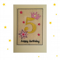 5th Birthday Card - Childrens Fifth Birthday Card - Kids Age Five Card - Age 5