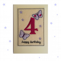 4th Birthday Card - Childrens Fourth Birthday Card - Kids Age Four Card - Age 4