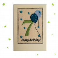 7th Birthday Card - Childrens Seventh Birthday Card - Kids Age 7 Card