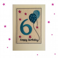 6th Birthday Card - Childrens Sixth Birthday Card - Kids Age Six Card - Age 6