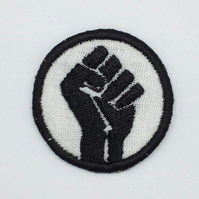 Black Fist Sew on patch - Black Lives Matter Patch - Embroidered BLM Patch