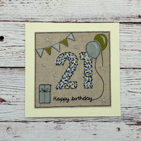21st - Age 21 Birthday Card - Option to Personalise - Textile 21st Card