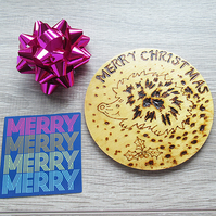 HEDGEHOG COASTER - CHRISTMAS COASTER