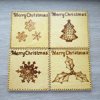 Christmas coasters set of four designs - tree, holly & snowflakes