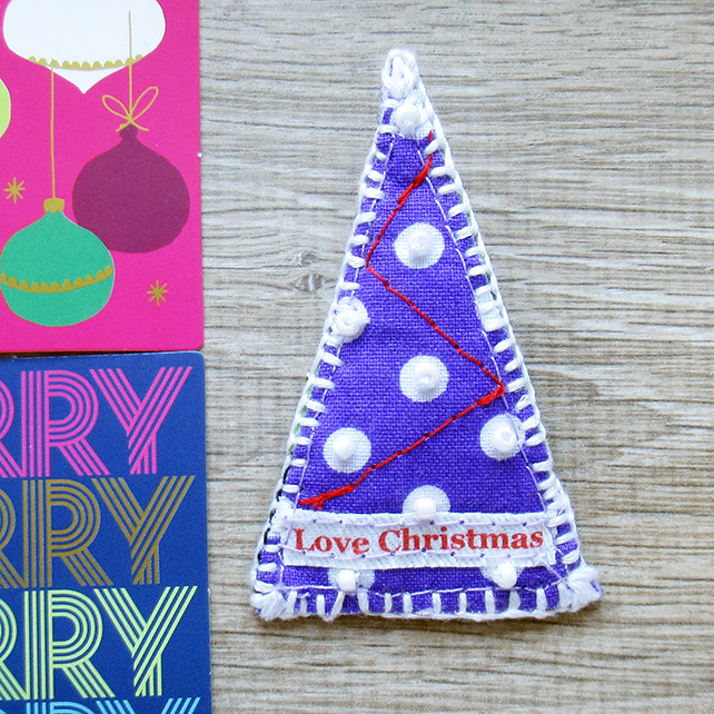 Christmas Tree brooch – Love Christmas - Purple