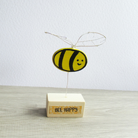 Bee, painted wooden ornament