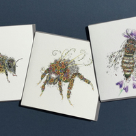 A trio of 3 beautiful Bee Greeting cards