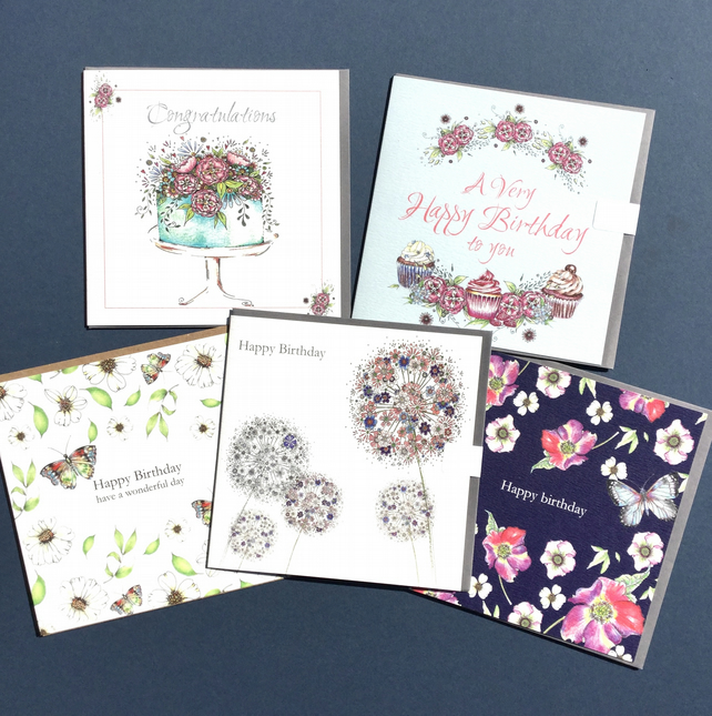 5 Birthday card bundle