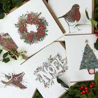 Christmas  mixed pack of 6 Traditional  cards