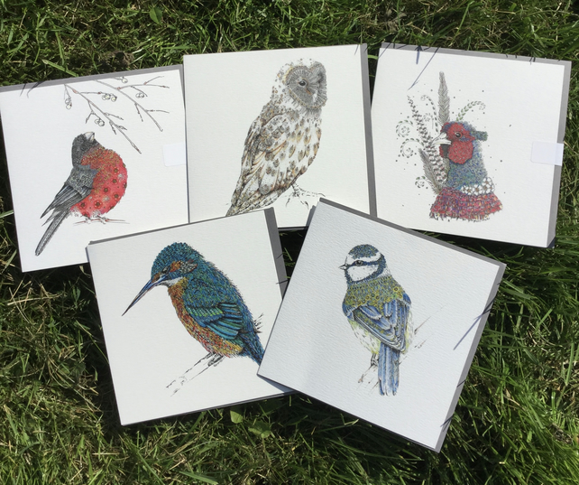 Beautiful Bird mixed pack of Greeting cards x 5