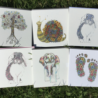 Mixed pack of Children's Greeting cards x 6 designs