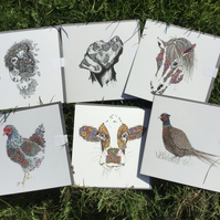 A mixed pack of greeting cards inspired by the  Countryside x 6