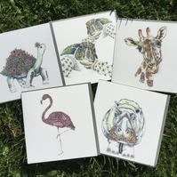 Wild Animal mixed Greeting card pack