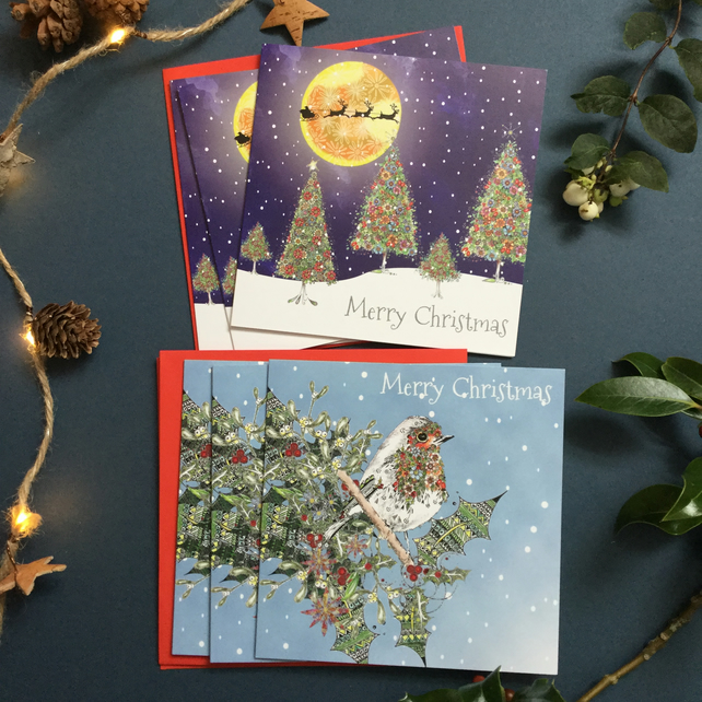 Christmas card pack of 6 cards  (2 different designs)