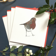 Christmas Robin Red Breast   6 card pack