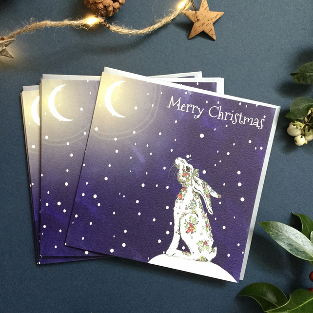 Christmas Rosehip star gazing Hare  card pack x 6