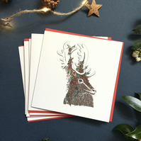 Christmas Stag card packs x 6