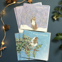 Christmas Winter Fox and a Festive Robin Card pack x6