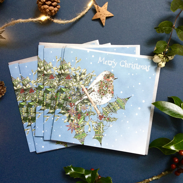 Christmas Robin card pack x 6