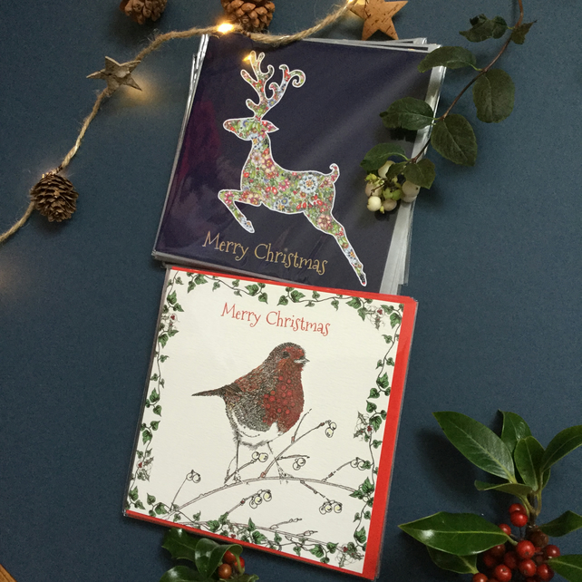 Stag and Festive Robin Christmas card pack x 6