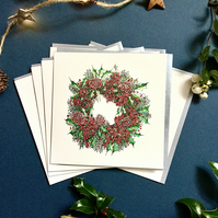 Christmas Berry Wreath x 6 card pack