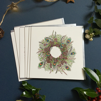 Christmas Peacock feather wreath cards x 6 pack